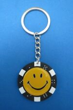 SMILEY FACE POKER CHIP DICE KEYRING KEY RING CHAIN YELLOW #185