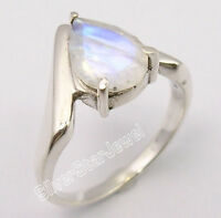 925 Solid Silver Exclusive DROP RAINBOW MOONSTONE UNUSUAL Ring Any Size BIJOUX