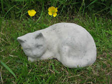 SLEEPING CAT MEMORIAL GARDEN ORNAMENT - UK MADE - FREE P&P