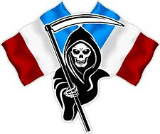 Small Racing Grim Reaper Skull French France Flags Car bike Sticker Decal LS500