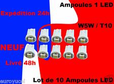 lot 10 Ampoule veilleuse LED W5W T10 effet Xénon Blanc Neuf Renault Mégane 1 2