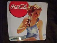 ancien support publicitaire coca cola en tôle lithographiée-années 1990