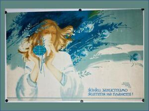 1980 Original Vintage Russian Soviet Art Poster USSR Women's Day