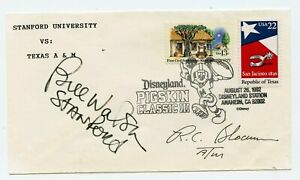 BILL WALSH RC SLOCUM dual Signed Autographed 1992 Disney Pigskin Football Cachet