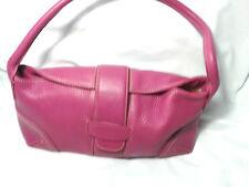 Ann Taylor Women Handbag Fushia Pink Pebbled Genuine Leather Shoulder Bag