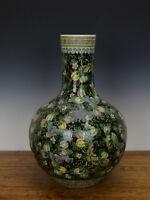Large Chinese Famille Noire Butterfly Black Glazed Globular Porcelain Vase
