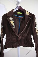 True Meaning Cotton Blend Brown Corduroy W/Floral Embroidery 1 Button Jacket - M