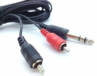 "5m 6.3MM 1/4"" Inch Jack Plug To Stereo HIFI 2 Phono RCA Audio Lead Cable 6.35mm"