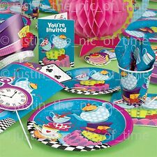 MAD HATTER TEA PARTY Girls Birthday Tableware Plates Cups Napkins Tablecover