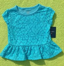 Baby Girl Clothes : NWT Falls Creek LACE FRONT Teal Short Sleeve Shirt 12 Months