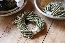 * Set aus 2 Serviettenring Serviettenringe Grün Olive Perlen Glas Kugeln