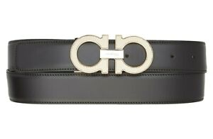 New Salvatore Ferragamo Reversible Black/Hickory Leather 67 A026/00 Belt Size 34