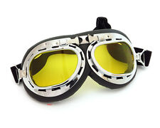 Vintage Aviator Style Motorcycle Scooter Goggles - Black Chrome - Yellow Lens