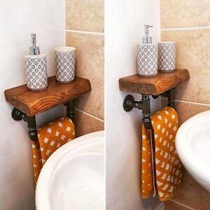 Rustic chunky wood towel rail Industrial design