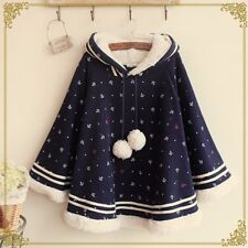 Korean Asian Navy Cute Kawaii Fashion Hooded Poncho