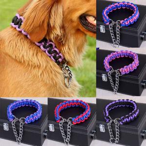 Pet Adjustable Nylon Woven Collar Chain Choker Dog Training Chain 4 Size S-XL