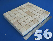 "LOT x 56 CUBES 1.5""/ 38 mm WOODEN BLOCKS BUNDLE SET PINE WOOD NATURAL ECO BRICKS"
