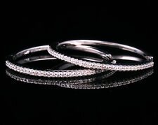 HOB SIGNED NATURAL UNTREATED 3/4ctw DIAMOND SOLID 14K WHITE GOLD HOOP EARRINGS