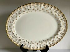 "FLEUR DE LYS Gold SPODE Bone China 16.5"" OVAL SERVING Platter Gold Trim MINT"