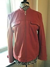 Casual Corner Orange Leather Moto Style Jacket Coat Size L