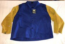 New Tillman Blue Fr 100%Cotton/Leather Welding Jacket 5Xl 9oz Work
