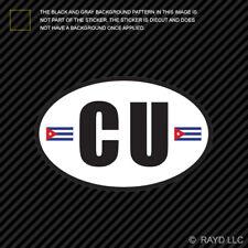 Cuba Oval Sticker Die Cut Decal Cuban Country Code euro CU v5