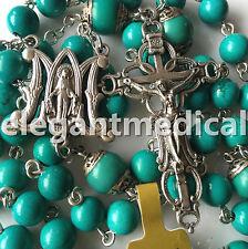 Vintage Turquoise BEADS CATHOLIC AVE MARIA ROSARY NECKLACE CROSS ITALY CRUCIFIX