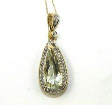 Natural Pear Shape Green Amethyst & Diamond Halo Pendant 14K Yellow Gold 2.18Ct