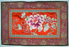 CHINESE RED SILK EMBROIDERED PANEL  FLOWERS