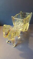 Vintage Clear Glass Horse Donkey and Wagon Candy Trinket Container