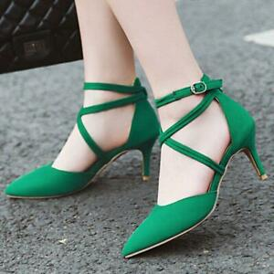 Sexy Women's Pumps Ankle Strap Pointed Toe Kitten Heel Party Dress Sandals Shoes