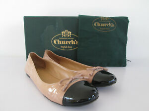 CHURCH'S WOMEN'S FLAT SHOES PUMPS MEERA BOXED NUDE & BLACK PATENT LEATHER UK 7