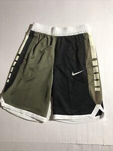 Youth Large Nike ELITE BASKETBALL SHORTS BOYS AQ9473-222 BLACK/WHITE/OLIVE/SAIL