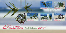 Norfolk Island 2015 FDC Christmas 5v Set Cover Candle Bird Fish Stamps