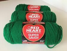 3 New Skeins Of Red Heart Super Saver Worsted Yarn 368 Paddy Green