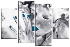 TEAL GREY CANVAS 'Missed You' WALL ART PICTURE 4 PANEL SPLIT MULTI PANEL 100cm