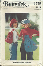 B 3779 sewing pattern 2 sizes Drawstring BAGS Cute HAT Craft sew Retro Funky FUN