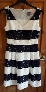Phase Eight Bea Stripe Tea Dress Fit & Flare Wedding Size 10 RRP £169 VGC (24)