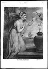 1891 ANTICA STAMPA FINE ART foto Lady Hamilton sensibilità incisione (117)