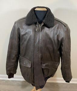 LL Bean Men's Goatskin Leather Shearling  Bomber Flight Jacket Size Large Tall