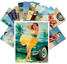 Postcards Pack [24 cards] Sexy Pinup Girl w Classic Cars Vintage Medcalf CC1044
