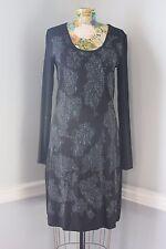 Yest Amika Tunic Stretchy Knit Dress Black w/Olive Blue Lacy Print Design XS $81
