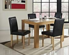Wooden Furniture Set Dining Table with Four Faux Leather Chairs New