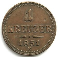 SELTEN ! 1 Kreuzer 1851 E, Franz Joseph I. (1848-1916)