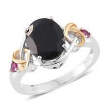 Black Spinel, Ruby 14K YG Over Sterling Silver Ring sz 8 or 7