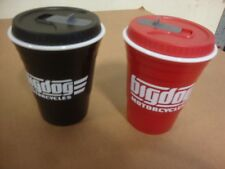 Big Dog Motorcycles Insulated Solo Cup Set W/ Lid & Logo Pitbull K-9 Chopper