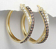 29mm 18K Yellow Gold Plated Sterling Silver Brown & White CZ Hoop Earrings 7g