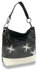 Rhinestone Bling Accented Banded Fashion Hobo Handbag Purse Bag Bling Black