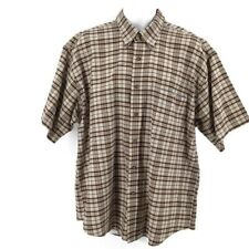 Towncraft Men's Casual Tan Red and White Plaid Short Sleeve Shirt Size XLarge