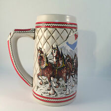 Budweiser Stein Ltd Ed Ceramic 1985 Winter Clydesdales Horses Christmas VTG